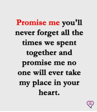 Memes, Heart, and Never: Promise me vou'll  never forget all the  times we sbent  together and  promise me no  one will ever take  my place in your  heart.