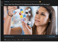 True, Quiz, and Biology: PROMOTED u/HowStuffWorksQuiz 7 days ago from howstuffworks.com  O  Quiz: Can You Score A 5 In Advanced Placement (AP) Biology?  howstuffworks.com  PLAY NOW  Comment → Share A Save Give Award