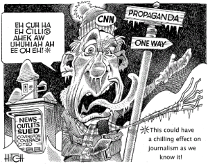 cnn.com, News, and Propaganda: PROPAGANDA  CNN  EH CUH HA  EH CILLIG  AHEK AW  UHUHIAH AH  EE OH EH!  ONE WAY  IT  NEWS  OUTLETS  SUED  COVINGTON  COVERAGE  This could have  a chilling effect on  ournalism as we  ITED  know it! News Outlets Sued...