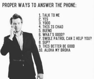 Phone, Swole, and Tumblr: PROPER WAYS TO ANSWER THE PHONE  1. TALK TO ME  2. YES  3. YO00  4. THIS IS CHAD  5. BUENO  6, WHAT'S GOOD?  7. SWOLE PATROL CAN I HELP YOU?  8. SUP?  9. THIS BETTER BE GOOD  10. ALOHA MY BROHA virgoassbitch:  kitfisto: mediumsizedboy:  Tag yourself I'm #4  my brother literally does the first one   I'm 9  5