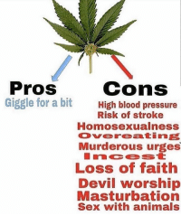 Anybody know how to grow weed: Pros  Giggle for a bit  cons  High blood pressure  Risk of stroke  Homosexualness  Overeatine  Murderous urges  LOSs of Taith  Devil worship  Masturbation  Sex with animals Anybody know how to grow weed