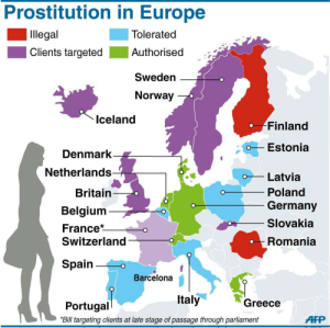 Barcelona, Belgium, and Click: Prostitution in Europe  Illegal  Clients targeted Authorised  Tolerated  Authorised -  Sweden  Norway  Iceland  Finland  Estonia  Denmark  Netherlands  oLatvia  Britain  Belgium  France*  Switzerland  Poland  Germany  Slovakia  Romania  Spain0  Barcelona  Italy  Greece  Portugal  Bill targeting clients at late stage of passage through parliament  AP land-of-maps:  Map showing the Legality of Prostitution in Europe, 2014 [1024 x 1020]CLICK HERE FOR MORE MAPS!