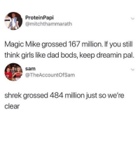 Dad, Girls, and Memes: ProteinPapi  @mitchthammarath  Magic Mike grossed 167 million. If you stil  think girls like dad bods, keep dreamin pal.  sam  @TheAccountOf Sam  shrek grossed 484 million just so we're  clear 😂