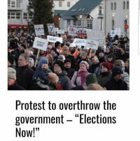 """Protest to overthrow the  government Elections  Now!"""" Iceland Around two thousand angry voters have pledged via Facebook to attend an anti-government demonstration when parliament comes together after the Easter-break today, they aim to pressure the government to step down and push for early elections. Icenewshttp:-www.icenews.is-2016-04-01-protest-to-overthrow-the-government-elections-now- ixzz4dCUI55OS"""