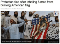 Memes, American, and American Flag: Protester dies after inhaling fumes from  burning American flag  Published September 18, 2012/ FoxNews.com  Burning the American flag can be deadly. (AP) (AP/ KM. CHAUDARY)  @americanaf