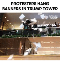 """Memes, Muslim, and News: PROTESTERS HANG  BANNERS IN TRUMP TOWER  NAVIGATING  TRUM  AMERI Dozens of people stormed the NYC Trump Tower lobby on Thursday to protest @realdonaldtrump's xenophobic and anti-immigrant policies. What a great way to resist! 💯✊🏽✊🏽 RESPECT (Repost @mic Mic news producer @beneliasmoe)."""" NotMyPresident DonaldTrump institutionalizedracism Not1More UndocumentedAndUnafraid Undocumented immigration RefugeesWelcome Muslim immigrant indigenous HereToStay"""