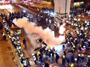 Protesters tried a more violent approach after the government ignoring 6 major peaceful protests. However the crowd was immediately met with tear gas and rubber bullets.: Protesters tried a more violent approach after the government ignoring 6 major peaceful protests. However the crowd was immediately met with tear gas and rubber bullets.