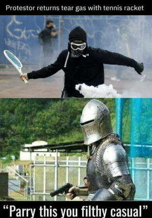 "Dank, Memes, and Target: Protestor returns tear gas with tennis racket  ""Parry this you filthy casual"" return to sender by MasterOfBinary MORE MEMES"