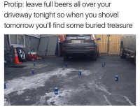 Dank Memes, Protip, and Full: Protip: leave full beers all over your  driveway tonight so when you shovel  tomorrow you'll find some buried treasure I support this @trendingtom