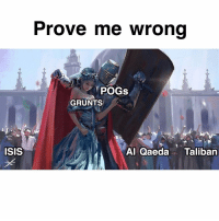 Isis, Memes, and 🤖: Prove me wrong  POGs  GRUNTS  ISIS  Al Qaeda Taliban Send this to a friend and say nothing