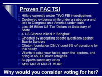 Cheating, Fbi, and Memes: Proven FACTS!  Hillary currently under TWO FBI investigations  Destroyed evidence while under a subpoena and  lied to Congress and America under oath  Lost $6 Billion US Tax Dollars as Secretary of  State  4 US Citizens Killed in Benghazi  Cheated by accepting debate questions against  Bernie Sanders  O Clinton foundation ONLY used 6% of donations for  the needy  O Wants to raise your taxes, open the borders, and  bring in 65,000 more refugees  Supports sanctuary cities  O AND MUCH MUCH MORE.  Why would you consider voting for her? MAKE YOUR VOTE COUNT TOMORROW DO NOT VOTE FOR THE BUTCHER OF BENGHAZI.  ~AngelVet~  #Benghazi #WhiteWater #WikiLeaks #ClintonBodyCount #CrookedHillary #TrumpTrain #DrainTheSwamp #MAGA