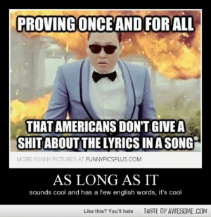 As Long As Ithttp://omg-humor.tumblr.com: PROVING ONCE AND FOR ALL  THAT AMERICANS DON'T GIVE A  SHIT ABOUT THE LYRICS IN A SONG  MORE FUNNY PICTURES AT FUNNYPICSPLUS.COM  AS LONG AS IT  sounds cool and has a few english words, it's cool  TASTE OF AWESOME.COM  Like this? You'll hate As Long As Ithttp://omg-humor.tumblr.com