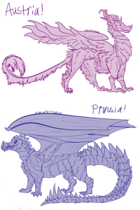 Dude, Jesus, and Lmao: Prussia/  0  7  1  7 ask-art-student-prussia:  ask-aph-dragons:  @ask-art-student-prussia So, I saw you made some dragon designs a while back (like a month ago, im so late lmao)… Well, here we have Purple Fancy Feathers up top, and Mr. Fighty in blue right there.I just wanted to say that you're an incredible artist and author, and you are a big part of what inspired me to start my own ask blog!I've been around since you began your blog, and its been awesome to see you go so far!Congrats, and thanks for being awesome, dude! Hope to see ya around!  HOLY JESUS THIS IS SO SO SO COOL AND DETAILED AAA