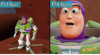 Memes, Ps4, and Space: PS1 Buzz  PS4 Buzz  SPACE RANGER IGHTY  AR How far we've come 😢