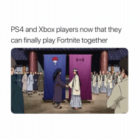 Naruto, Ps4, and Xbox: PS4 and Xbox players now that they  can finally play Fortnite together PS4 or Xbox???