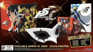 Amazon, Children, and Ether: PS4  ROAL  ART BOOK  PERSONAS  ROYAL  PSOlS  ROYAL  PHANIOM THIEVES  EDITION  COLLECTOR'S BOX  ART BOOK  DYNAMIC  PS4 THEME  JOKER MASK  WITH STAND  STEELBOOK  SOUNDTRACK  May contain  G MNDING  comea tAVAILABLE MARCH 31, 2020  RP  ATLUS.COM/P5R  for children  Visit esrb.org for  rating information  ART NOR FINAL SUBECT 19CHANGE. PRODUCTS NOT TO SCALE  ARLUSSEGA Al ights served US and SGA are registed in the US Patent and Trademark Ofice ATUUS the ALUS loga and PERSONA S ROYAL ae ether registeed trademarks atadenarks  of ALUS Co or ts atesPRSACYAL is ether aregisted tradenak or trademark of SEGA Holdings Caor tsaa SELOK IS A TRADEMAK.OF &MARSTRAND A/S  The PS Fay log ayond eeteed tadmrs of Sony inteacive rtatin  ESRD  SAMEXPU Big news for Persona fans of the West: According to GameXplain from a leak from Amazon Canada, Persona 5 Royal is coming out at the end of March next year.