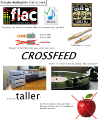 """Apple, Starter Packs, and Free: Pseudo Audiophile Starterpack  SEO  SNAKE OI  WAV  CURES ALL  free lossless audio couoc  PARTICULART PREPAB2D BI OLD TEST PEODUCTS LLC  """"l'm telling you, there's an audible difference between FLAC and WAV  ec  3.5mm TRRS  2.5mm TRRS  Gold makes it """"better""""  lgnores the fact that more amps mean more noise  CROSSFEED  There's no reason to not use anolog, why use digital?""""  taller  """"It can be  Can't even look at the apple fruit  because of those electric toothbrush  wireless earbuds Pseudo Audiophile Starterpack"""