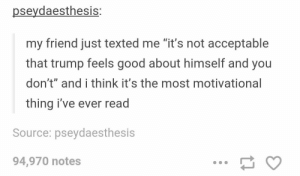 "Good, Trump, and Source: pseydaesthesis  my friend just texted me ""it's not acceptable  that trump feels good about himself and you  don't"" and i think it's the most motivational  thing i've ever read  Source: pseydaesthesis  94,970 notes Feel good about yourself"
