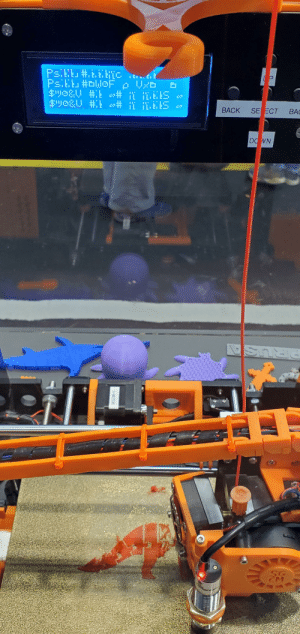 3d Printer, Down, and Printer: PsiL#.ETc  PS.LE #WOF p  P  $wo&y  # L I.ELS  ВАCK  SE ECT  BA  DOWN  Y-MOTOR 3d printer in a children's museum. I think it's trying to tell us something! ....