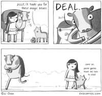 """Omg, Tumblr, and Blog: pssst, Ii trade you for  these magic beans  İDEAL  but  rn  come on,  you're gonna  teach me how  to rcad.  1  It 1  OLi Chen  cxocomics.com <p><a href=""""https://omg-images.tumblr.com/post/165560905292/magic-beans"""" class=""""tumblr_blog"""">omg-images</a>:</p>  <blockquote><p>magic beans</p></blockquote>"""
