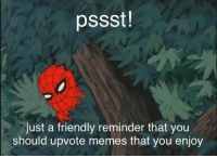 you heard the man: pssst!  just a friendly reminder that you  should upvote memes that you enjoy you heard the man