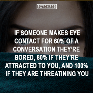 psych2go:  If you like more posts like these, follow us @psych2go: PSYCH 2G0  IF SOMEONE MAKES EYE  CONTACT FOR 60% OF A  CONVERSATION THEY'RE  BORED, 80% IF THEY'RE  ATTRACTED TO YOU, AND 100 %  IF THEY ARE THREATINING YOU psych2go:  If you like more posts like these, follow us @psych2go