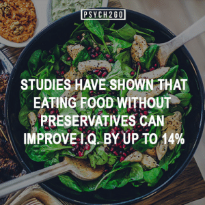 psych2go:  If you like more posts like these, follow us @psych2go: PSYCH 2G0  STUDIES HAVE SHOWN THAT  EATING FOOD WITHOUT  PRESERVATIVES CAN  IMPROVEI.Q BY UP TO 14% psych2go:  If you like more posts like these, follow us @psych2go