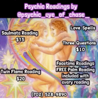Psychic Readings by Chase Love Spells Soulmate Reading $15
