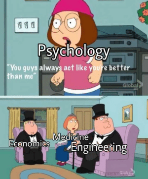 """Psychology, Engineering, and Medicine: Psychology  You guys always act like youre better  than me""""  Global  Medicine  0  Engineering"""