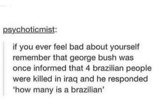 Bad, Dank, and Memes: psychoticmist:  if you ever feel bad about yourself  remember that george bush was  once informed that 4 brazilian people  were killed in iraq and he responded  how many is a brazilian' I feel smart now by tiny_Herbie MORE MEMES