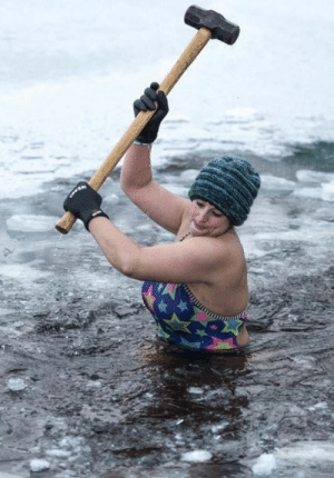 psychotictea:  werbly:  jaw8jaw: Alice Goodridge using a sledgehammer to break up the ice at Loch Insh in the Scottish Highlands before her morning swim. Photo by Euan Cherry, February 2019.   God could you imagine not giving a fuck about anything   My favourite is the hat. Really makes this photo.: psychotictea:  werbly:  jaw8jaw: Alice Goodridge using a sledgehammer to break up the ice at Loch Insh in the Scottish Highlands before her morning swim. Photo by Euan Cherry, February 2019.   God could you imagine not giving a fuck about anything   My favourite is the hat. Really makes this photo.