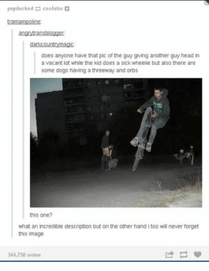 [NSFW] truly a coincidence worth sharing by CIean FOLLOW 4 MORE MEMES.: psyducked coolator  tramampoline  angrytransblogger  darkcountrymagic  does anyone have that pic of the guy giving another guy head in  a vacant lot while the kid does a sick wheelie but also there are  some dogs having a threeway and orbs  this one?  what an incredible description but on the other hand i too will never forget  this image  344,750 notes [NSFW] truly a coincidence worth sharing by CIean FOLLOW 4 MORE MEMES.