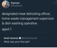 Blackpeopletwitter, Waste Management, and Dish: Psymon  PsykoUK  designated meat defrosting officer,  home waste management supervisor  & dish washing operative.  aged 7.  Imoh Umoren @lmohUmoren  What was your first job? <p>And part time entertainment variation manager when she couldn&rsquo;t reach the mokentroll (via /r/BlackPeopleTwitter)</p>