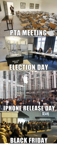 epicjohndoe:  What People Consider Important These Days: PTA MEETING  BALLOT  BOX  ELECTION DAY  PHONE RELEASE DAY  SEARS  BLACK FRIDAY . epicjohndoe:  What People Consider Important These Days