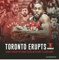 Kawhi Leonard goes full Statue of Liberty. The North goes nuts.: PTO  PTo  TORONTO ERUPTSX  KAWHI LEONARD PUTS AWAY SIXERS WITH COAST TO COAST DUNK Kawhi Leonard goes full Statue of Liberty. The North goes nuts.
