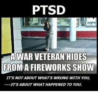 Friends, Memes, and Fireworks: PTSD  A WAR VETERAN HIDES  FROM A FIREWORKS SHOW  IT'S NOTABOUT WHAT'S WRONG WITH YOU  rounine ET'S ABOUT WHAT HAPPENED TO YOU.  rouring Agree?? - - ❎ DOUBLE TAP pic 🚹 TAG your friends 🆘 DM your Pics-Vids 📡 Check My IG Stories 💥Check the link in Bio 👉@veterancollection 🔥Follow us @veterancollection - (Repost @veteranownedworld) 🇺🇸🇺🇸🇺🇸🇺🇸🇺🇸🇺🇸🇺🇸🇺🇸 - usarmy armylife usnavyseal navylife militarylife militarylove usmilitaryacademy navylife usmilitary usarmyveteran veterans supportthetroops supportourveterans usnavy USMC USCG usmarines armedforces semperfi usairforcepride usairforce hooah Oorah armystrong infantry activeduty supportourtroops usarmedforces