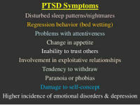 PTSD Symptoms  Disturbed sleep patterns/nightmares  Regression behavior (bed wetting)  Problems with attentiveness  Change in appetite  Inability to trust others  Involvement in exploitative relationships  Tendency to withdraw  Paranoia or phobias  Damage to self-concept  Higher incidence of emotional disorders & depression