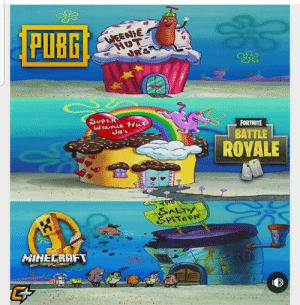 An interesting title: PUB  WEENIE  HUT  SUPER  FORTNITE  BATTLE  UR'S  ROYALE  MILELRAFT  Hunger Games! An interesting title