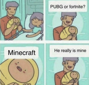 If I have a kid that doesn't say minecraft, I'll yeet them into a bottomless pit: PUBG or fortnite?  He really is mine  Minecraft  u/avory-johns  on If I have a kid that doesn't say minecraft, I'll yeet them into a bottomless pit