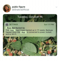 Ass, Club, and Memes: pubic figure  @ShakiraOfficial  Tuesday, October 16  SETTINGS  Sun 1:11 PM  Ass Not Backed Up  This Ass hasn't been backed up in 111 weeks. Backups  happen when this Ass is connected to power, locked,  and on Wi-Fi. Post 1354: y am I backing my a$$ up at the club rn