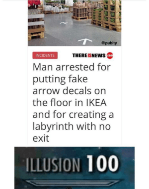 Anaconda, Fake, and Ikea: @pubity  INCIDENTS  THEREISNEWS  Man arrested for  putting fake  arrow decals on  the floor in IKEA  and for creating a  labyrinth with no  exit  ILLUSION 100 I thought every Ikea was a never ending labyrinth anyway!