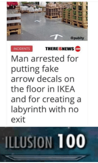 Anaconda, Fake, and Ikea: @pubity  THEREISNEws ca  INCIDENTS  Man arrested for  putting fake  arrow decals on  the floor in IKEA  and for creating a  labyrinth with no  exit  ILLUSION 100