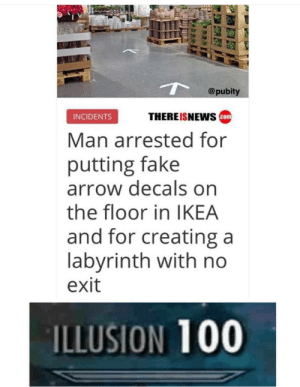DID YOU KNOW: @pubity  THEREISNEwS com  INCIDENTS  Man arrested for  putting fake  arrow decals on  the floor in IKEA  and for creating a  labvrinth with no  exit  ILLUSION 100 DID YOU KNOW