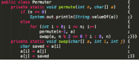 Java, Python, and Private: public class Permuter  private static void permute(int n, char[] a)  if (n)  System.out.println(String.value0f (a)) )  else  for (int i= 0; ǐ <= n; i++)  permute(n-1, a)  :3Hh  private static void swap (char[l a, int i, int j)  char saved a [i]  aljl saved  :H A Python programmer attempting Java