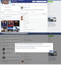"""Ben Carson, cnn.com, and Community: Public Figure  Like  FollowShare  Create Page  Recent  2015  2014  2013  2012  2011  2010  2009  Timeline About PhotosLikes More  3,202,279 people like this  Donald J. Trump  Invite friends to like this Page  Will be in New Hampshire and then on CNN Special at 9PM tonight.  1 Like Comment Share  ABOUT  26,532 people like this.  Most Relevant  This is the official Facebook page for Donald J. Trump  1,479 shares  Sponsored  http://www.donaldjtrump.com/  Write a comment...  PJ Tee  PHOTOS  CALL DUTY  (yelling, whooping)  Get Beta Access First o  www.playstation.com  Play Call of Duty: Black Ops  III before  order for early beta access  on PS4  (kid blows noisemaker)  (chatter)  anyone else. Pre-  girls chatter)  (waiter) Happy New Year's, ladies,  Gabby, it's New Year's Eve   Donald J. Trump  PJ Home Find Friends  (chatter and laughter)  Create Page  From the great author of Rich Dad, Poor Dad-- Rober...  September 3, 2013  Howdy, ma'am,  Recent  2015  With Dr. Dror Paley & Dr. Ben Carson with two wonde...  April 2, 2013  All right! How about that  for a couple of snowboarders?  Wow, I was just informed that I'm being induc  February 25, 2013  You're temporarily blocked from making public comments on Facebook.  LIKED BY THIS PAGE  Some of your comments have been reported as spam. To avoid getting blocked again, make sure your  posts are in line with the Facebook Community Standards.  Trump Tower New Yorkf you think you're seeing this by mistake, please let us know.  Close  Miss Teen USA  Like  CALL DUTY  (kids shouting)  I can't sing, No, you go  Get Beta Access* First o  www.playstation.com  Play Call of Duty: Black Ops  IlI before anyone else. Pre-  order for early beta access  on PS4  Trump Golf Links, Ferry Point  1  Like  English (US) Privacy - Terms - Cookies Advertising  Ad Choices D More  Facebook 2015  And you! Yeah, come on,  A Unable to post comment  PJ Tee  yelling, whooping) <p><a class=""""tumblr_blog"""" href=""""http://heyitsp"""