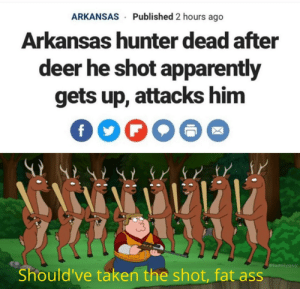 Oh deer: Published 2 hours ago  ARKANSAS  Arkansas humter dead after  deer he shot apparently  gets up, attacks him  #familyguy  Should've taken the shot, fat ass Oh deer