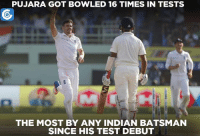 An embarrassing record for Cheteshwar Pujara.: PUJARA GOT BOWLED 16 TIMES IN TESTS  THE MOST BY ANY INDIAN BATSMAN  SINCE HIS TEST DEBUT An embarrassing record for Cheteshwar Pujara.