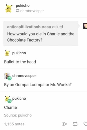 : pukicho  chronovesper  anticapitilizationbureau asked  How would you die in Charlie and the  Chocolate Factory?  pukicho  Bullet to the head  chronovesper  By an Oompa Loompa or Mr. Wonka?  pukicho  Charlie  Source: pukicho  1,155 notes