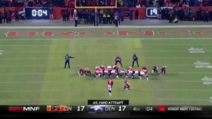LOWRY FOR THE CHAMPIONSHIP!... https://t.co/jlUYGXJCnV: PUL  0.04  45-YARD ATTEMPT  DEN 17  CIN 17  MONDAY NIGHT FOOTBALL  MNF  4TH  04  19 LOWRY FOR THE CHAMPIONSHIP!... https://t.co/jlUYGXJCnV