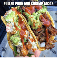 Mexican Word of the Day, Pulled Pork, and  Pork: PULLED PORK AND SHRIMP TACOS Oh my